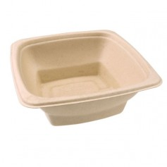 Saladier carré biodégradable en bagasse 750 ml - par 75
