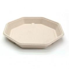 Assiette octogonale en bagasse Ø 23 cm - par 50