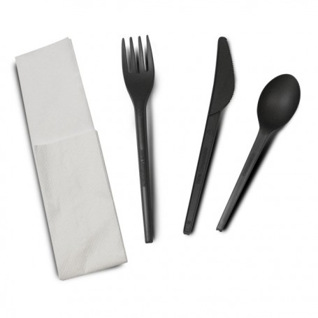 Kit couverts noirs compostables 4 en 1 en CPLA - par 250