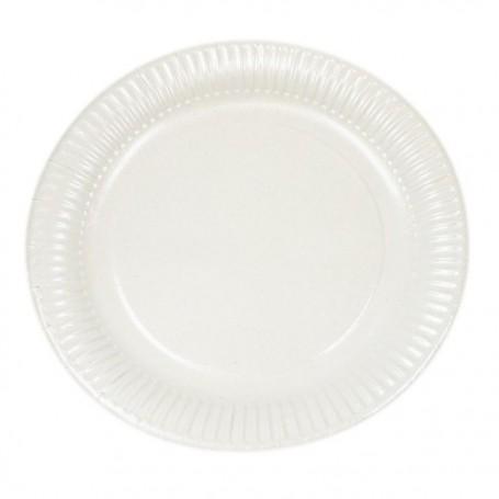 Assiette ronde blanche diamètre 23 cm biodégradable - carton de 100