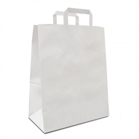Sac cabas kraft blanc à poignées plates 32 x 15 x 40 cm - paquet de 50