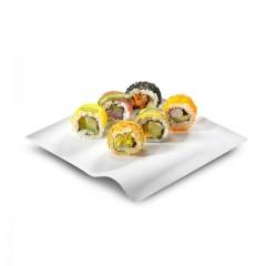 Assiette Wave blanche 15 x 15 cm en canne à sucre - par 500